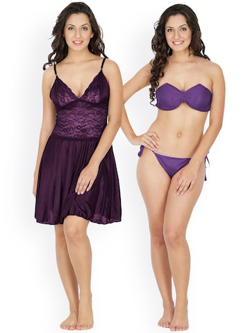 Klamotten Purple Nightdress Set 221J-N63CRM Klamotten Nightdress at myntra