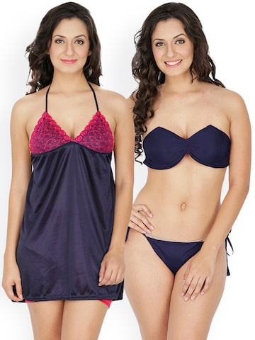 Klamotten Navy Blue Nightdress Set 221N-208N Klamotten Nightdress at myntra