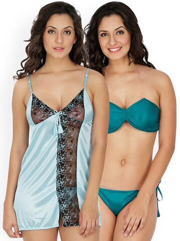 Klamotten Turquoise Blue & Sea Green Nightdress Set 221T-109G Klamotten Nightdress at myntra