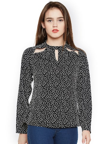 Oxolloxo Women Black Printed Top Oxolloxo Tops at myntra