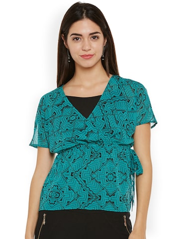 Oxolloxo Women Green Printed Top Oxolloxo Tops at myntra