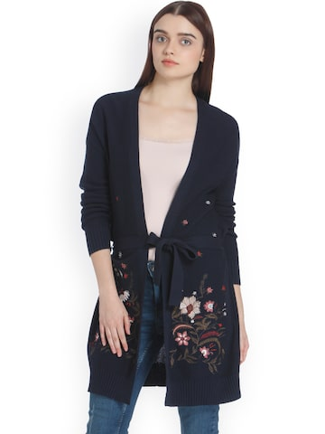 Vero Moda Women Navy Blue Solid Cardigan Sweater Vero Moda Sweaters at myntra