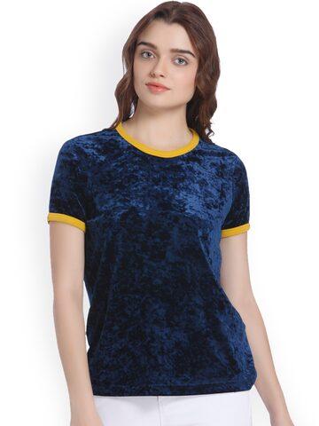Vero Moda Women Navy Blue Solid Round Neck T-shirt Vero Moda Tshirts at myntra
