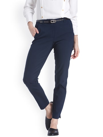 Vero Moda Women Navy Blue Slim Fit Solid Formal Trousers Vero Moda Trousers at myntra