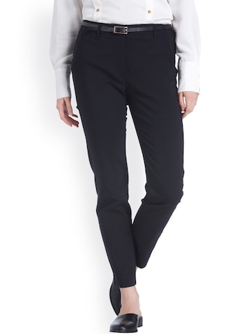 Vero Moda Women Black Slim Fit Solid Formal Trousers Vero Moda Trousers at myntra
