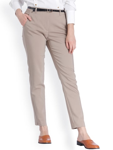Vero Moda Women Beige Slim Fit Solid Formal Trousers Vero Moda Trousers at myntra