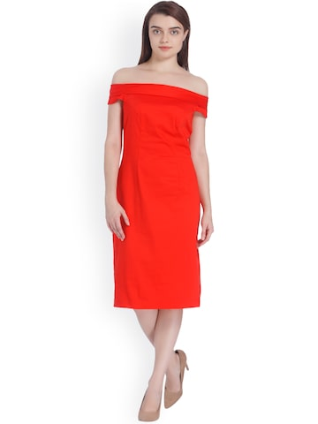 Vero Moda Women Red Solid Sheath Dress Vero Moda Dresses at myntra