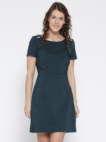 Vero Moda Women Navy Blue Solid A-Line Dress Vero Moda Dresses at myntra