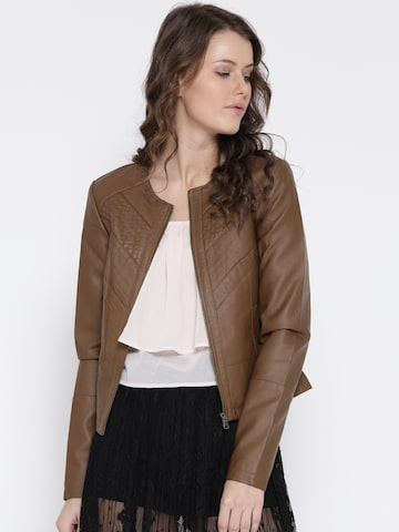 Vero Moda Women Brown Solid Biker Jacket Vero Moda Jackets at myntra