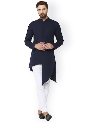 See Designs Men Navy Blue & Navy Blue Solid Straight Kurta See Designs Kurtas at myntra
