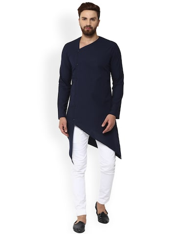 See Designs Men Navy Blue Solid Straight Kurta See Designs Kurtas at myntra