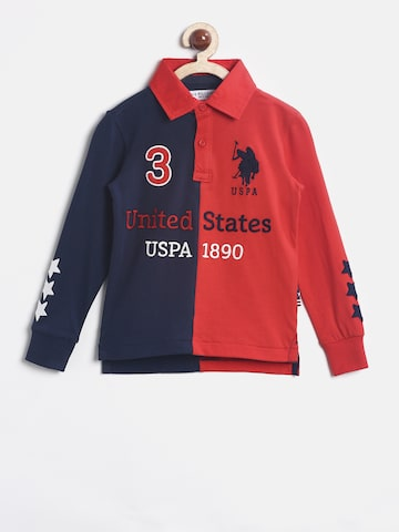 U.S. Polo Assn. Kids Boys Navy & Red Colourblocked Polo T-shirt U.S. Polo Assn. Kids Tshirts at myntra
