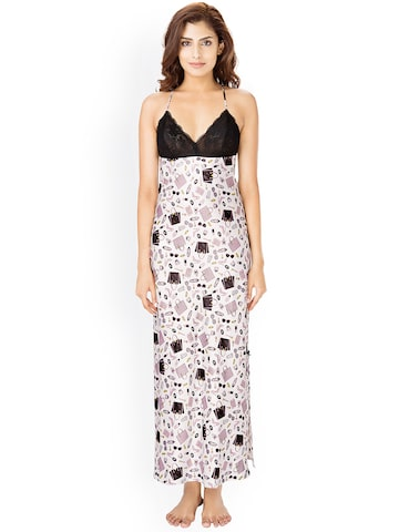 PrettySecrets Women Off-White & Black Printed Maxi Nightdress NW0048 PrettySecrets Nightdress at myntra