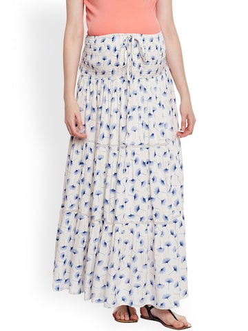 Oxolloxo White & Blue Floral Print Maternity Maxi Skirt Oxolloxo Skirts at myntra