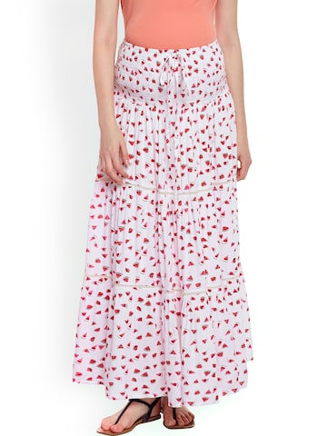 Oxolloxo White & Red Printed Maternity Maxi Skirt Oxolloxo Skirts at myntra