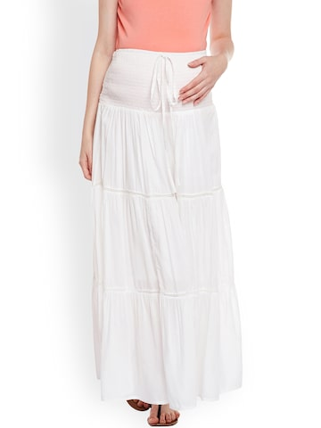 Oxolloxo White Maternity Maxi Skirt Oxolloxo Skirts at myntra