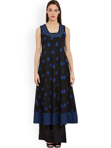 Ritu Kumar Women Black & Blue Woven Design Anarkali Kurta Ritu Kumar Kurtas at myntra
