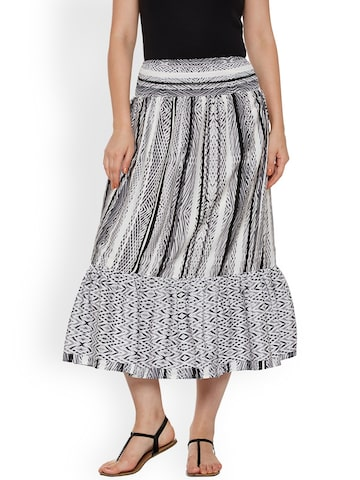 Oxolloxo Off-White & Black Printed A-Line Midi Skirt Oxolloxo Skirts at myntra