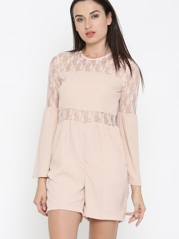 DressBerry Peach-Coloured Solid Playsuit DressBerry Jumpsuit at myntra