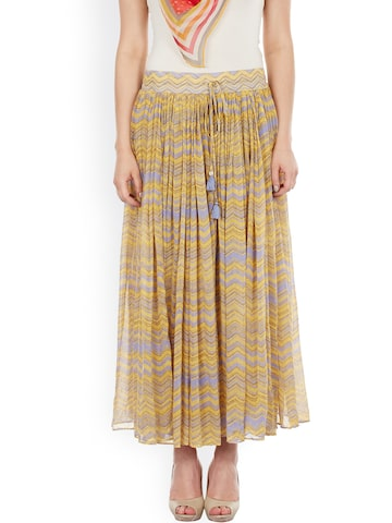 Ritu Kumar Khaki & Blue Printed Maxi Skirt Ritu Kumar Skirts at myntra