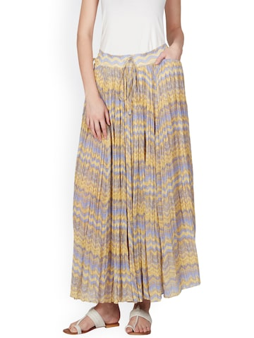 Ritu Kumar Blue & Yellow Printed Flared Maxi Skirt Ritu Kumar Skirts at myntra