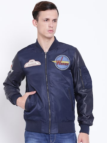 United Colors of Benetton Men Navy Blue Solid Bomber Jacket United Colors of Benetton Jackets at myntra