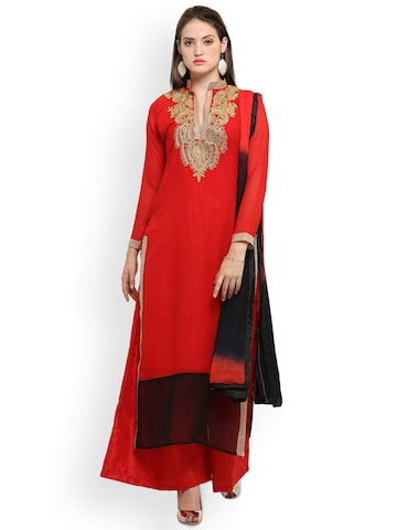 Ishin Red & Black Poly Georgette Unstitched Dress Material Ishin Dress Material at myntra