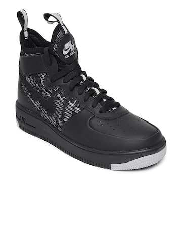 Nike Men Black Perforated AIR FORCE 1 ULTRAFORCE Mid-Top Sneakers Nike Casual Shoes at myntra