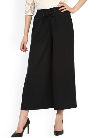Besiva Women Black Regular Fit Solid Parallel Trousers Besiva Trousers at myntra