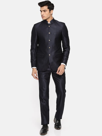 Raymond Men Navy Blue Solid Single Breasted Contemporary Fit Bandhgala Suit Raymond Suits at myntra