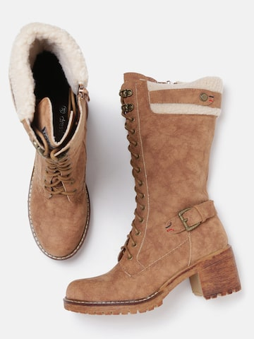 DressBerry Women Brown Solid Heeled Boots DressBerry Heels at myntra