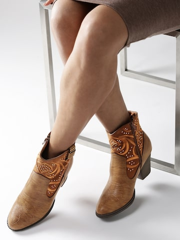 DressBerry Women Brown Patterned Heeled Boots DressBerry Heels at myntra