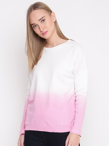 United Colors of Benetton Women White & Pink Ombre-Dyed Sweatshirt United Colors of Benetton Sweatshirts at myntra