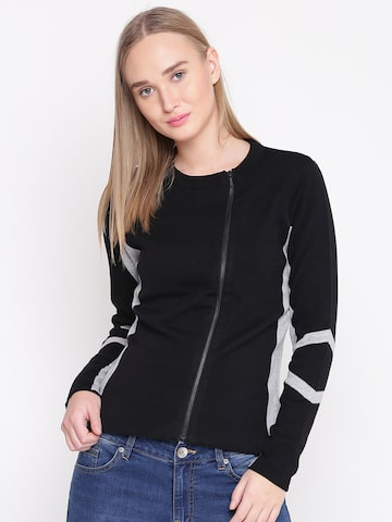 United Colors of Benetton Women Black & Grey Melange Solid Cardigan United Colors of Benetton Sweaters at myntra