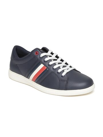 Tommy Hilfiger Men Navy Leather Sneakers Tommy Hilfiger Casual Shoes at myntra