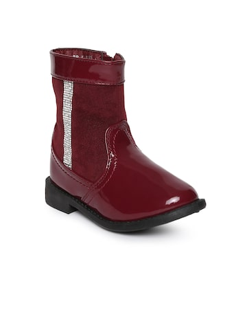 Kittens Girls Maroon Solid Synthetic Leather High-Top Flat Boots Kittens Casual Shoes at myntra