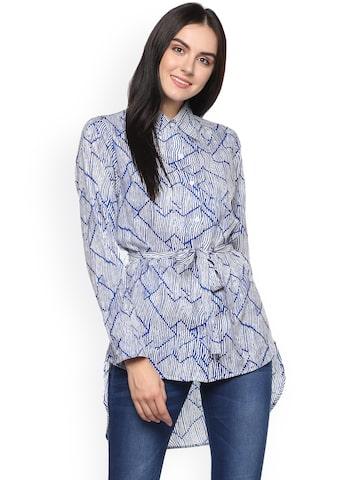 Abiti Bella Women Blue Printed Shirt Style Top Abiti Bella Tops at myntra