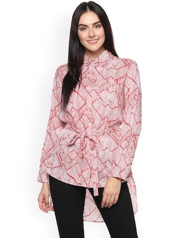 Abiti Bella Women Red Printed Shirt Style Top Abiti Bella Tops at myntra