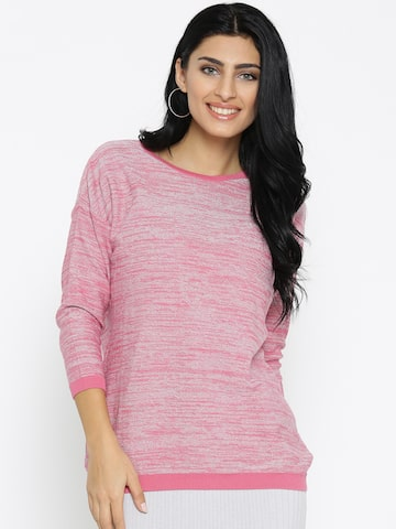 Noi Women Pink & Silver Solid Shimmer Sweater Noi Sweaters at myntra