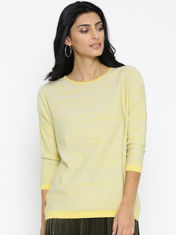 Noi Women Yellow & Silver Solid Shimmer Sweater Noi Sweaters at myntra