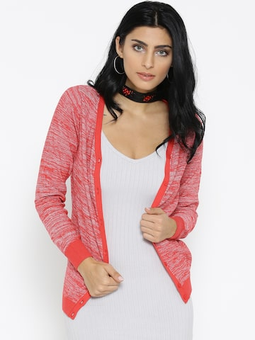 Noi Women Coral Red & Silver Solid Shimmer Cardigan Noi Sweaters at myntra