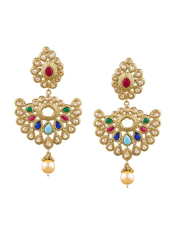Sia Art Jewellery Gold-Plated Classic Embellished Drop Earrings Sia Art Jewellery Earrings at myntra