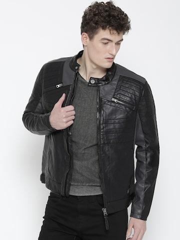 Ed Hardy Men Black Solid Biker Jacket Ed Hardy Jackets at myntra