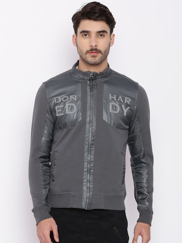 Ed Hardy Men Charcoal Solid Sweatshirt Ed Hardy Sweatshirts at myntra