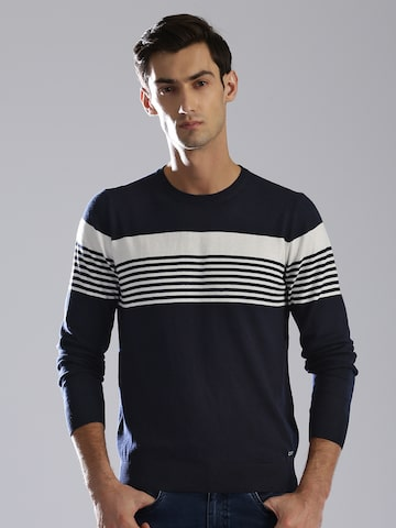 GAS Men Navy Blue & White Striped Pullover GAS Sweaters at myntra