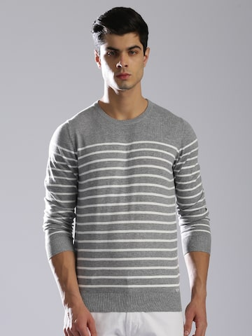 GAS Men Grey & White Striped Pullover GAS Sweaters at myntra