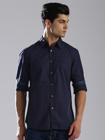 GAS Men Navy Blue Tailored Slim Fit Checked Casual Shirt GAS Shirts at myntra