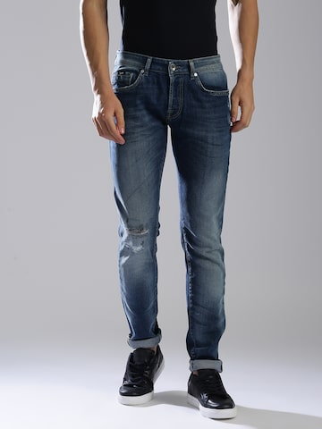 GAS Men Blue Norton Carrot Fit Low-Rise Low Distress Jeans GAS Jeans at myntra
