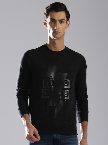 GAS Men Black Lathi Printed Sweatshirt GAS Sweatshirts at myntra
