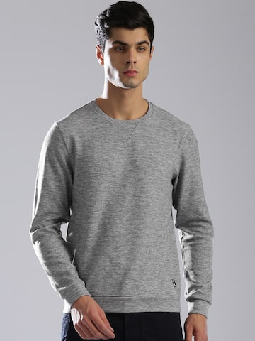 GAS Men Grey Edwie Solid Sweatshirt GAS Sweatshirts at myntra